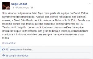 Cagê Lisboa postou em seu perfil no Facebbok