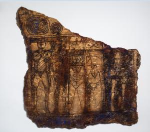 ALBERTO CEDRÓN pedra gravada e policromada. Portual anos  90  80x80cm