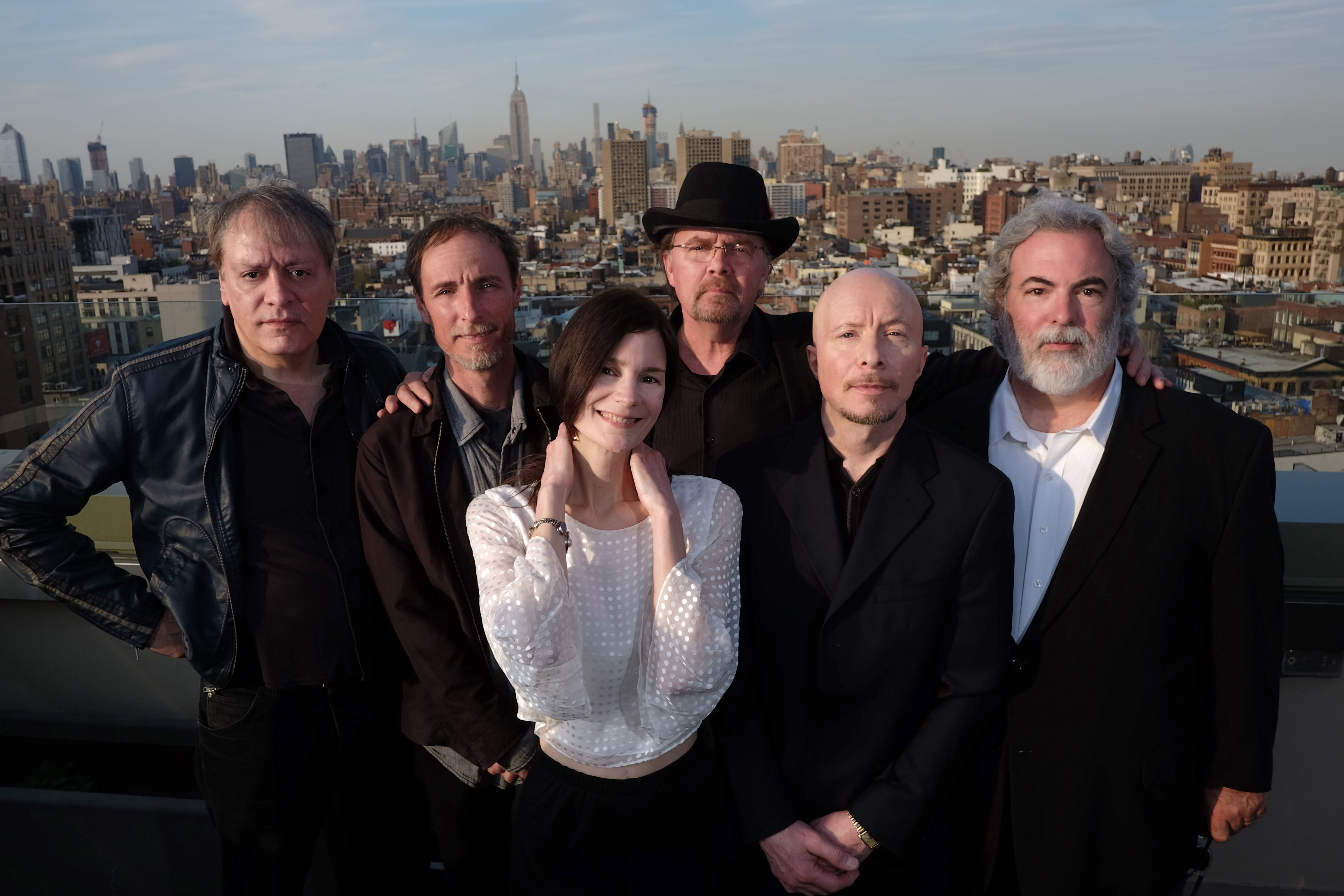 (L-R) John Lombardo, Jeff Erickson, Mary Ramsey, Steve Gustafson, Jerry Augustyniak, and Dennis Drew, of the 10,000 Maniacs pose for a portrait at the Sheraton Tribeca Hotel in Manhattan, New York on Thursday, April 21, 2016. (Thomas Levinson/New York Daily News)